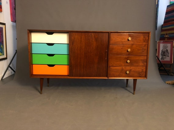 Mid-Century danish walnut curated and credenza/sideboard/low dresser case good record player cabinet.
