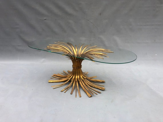 2 Gold Gilt Decorator Wheat Sheaf Coffee table/End Table with circle glass