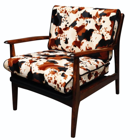 Mid century curated walnut danish arm chairs with new cowhide cushions