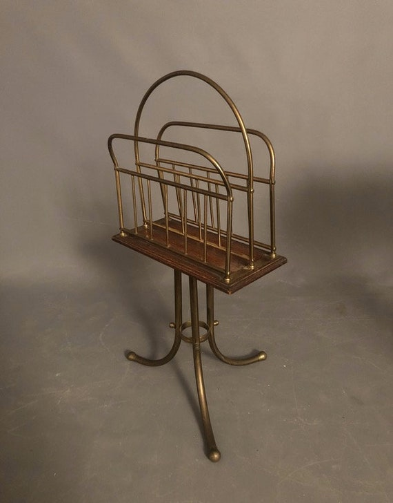 1960s Mid Century Modern Brass Swivel Magazine Rack Holder