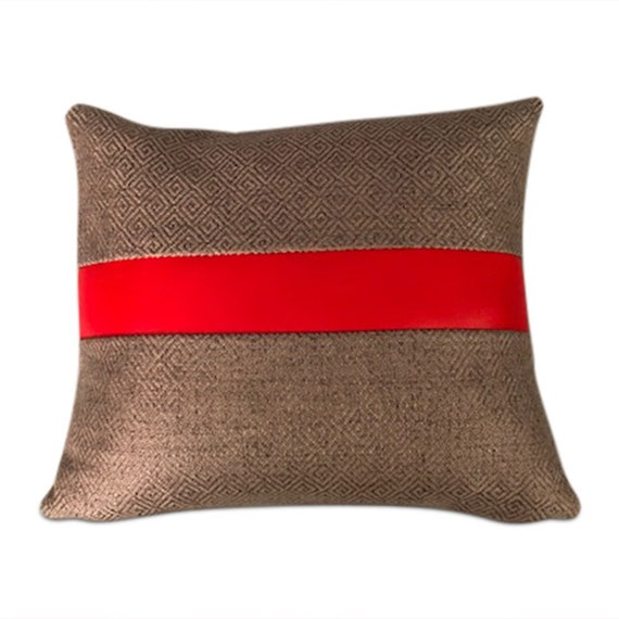 "Handmade lumbar pillow with maharam cotton gray geometric tweeted fabric and red vinyl stripe. 12""x 14"" inches"