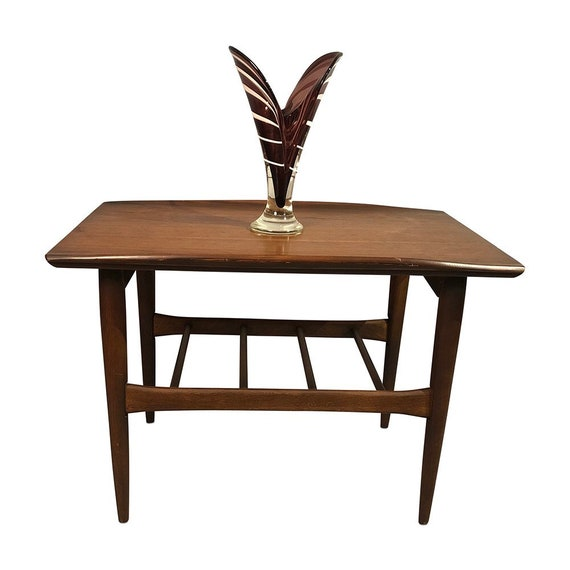 Mid century walnut end table with bottom shelf 1960's circa