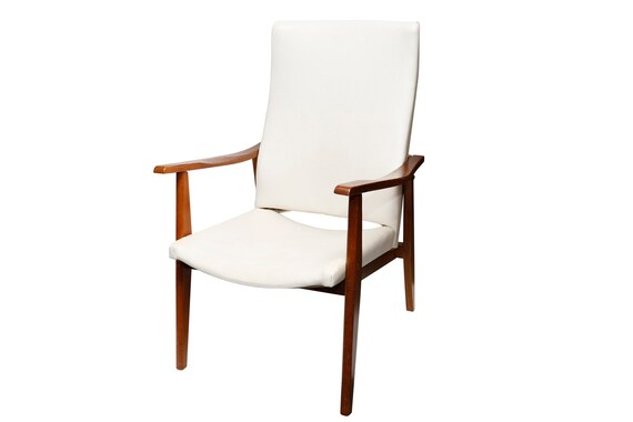Mid century high-back lounge chairs with walnut arms/frame And white vinyl upholstery