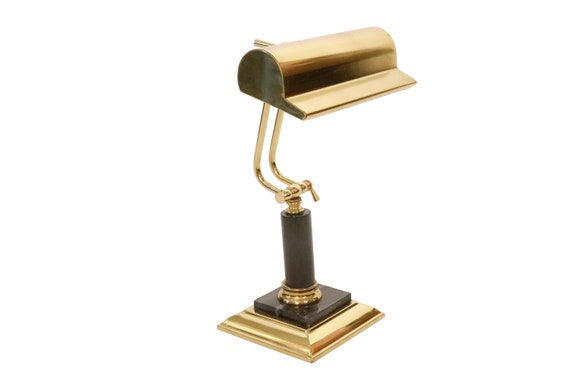 Art deco adjustable brass and marble desk lamp