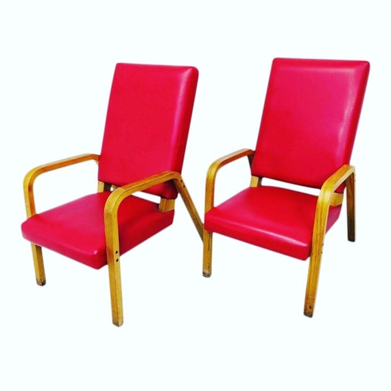 Rare Pair Red Vinyl Thonet Bent Wood Arm Lounge Chairs