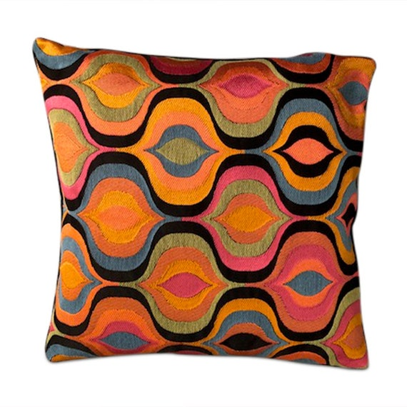 "Handmade square Multicolored paisley v pillow 16"" x 16"" inches come with feather down insert."