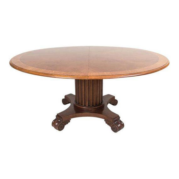 """Renaissance Revival Solid Walnut 64"""" inch Round Dining Table with 1 Leaf circa 1875"""