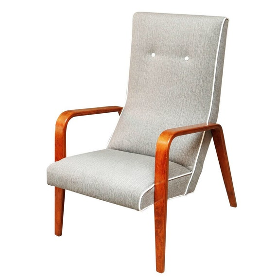 "Mid century curated bentwood arms lounge chair by ""Thonet"" Co with new gray fabric."