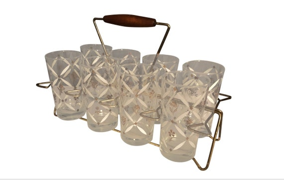 Mid-Century Vintage Drinking Glasses With Caddy - Set of 8