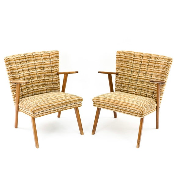 Mid century vintage pair of Isi lounge chairs with thick arms original condition 1970s
