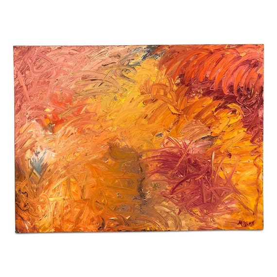 "Original Contemporary abstract multicolored oil on canvas by ""Bruce Mishell""  ""My Only Sunshine"" Signed."
