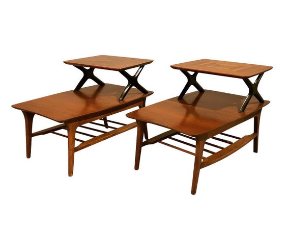 """mid century pair end tables with two tiers and black X design with design by """"Lane"""" 1960s"""