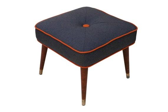 Curated mid century ottoman footstool wood legs