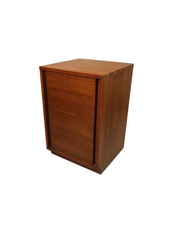 "Mid-Century ""Henredon"" teak small drawer cabinet on wheels."