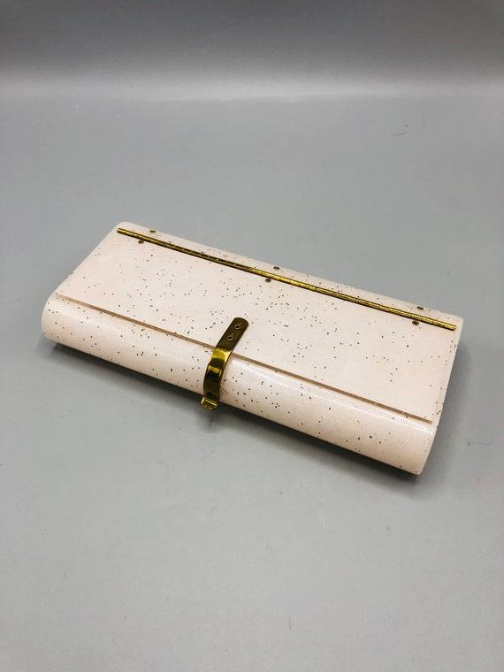 Vintage Pale Pink Original Wilardy Blush Gold Glitter Confetti Lucite Clutch Handbag