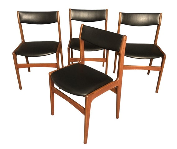 Mid Century Curated Teak Danish Dining Chairs Set of 4