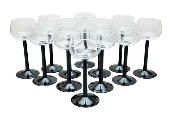 Mid-Century Clear Stamp Wine Glass With Black base of set of 6