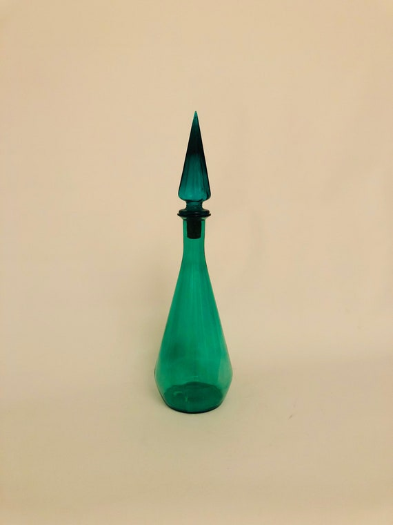 Mid-Century tall glass decanter with a stopper murano style in green.