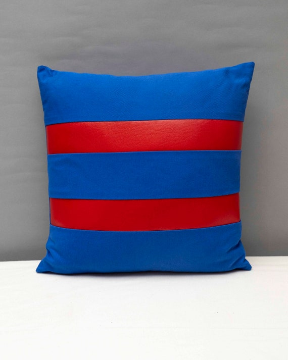 "Blue canvas geometric handmade pillow 16 x 16"" inches with two red stripes"