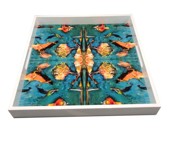 """Handmade contemporary lacquer wood tray with multi color abstract titled: The Birds"""" designed by """"Bruce Mishell""""16"""" x 16"""" inches"""