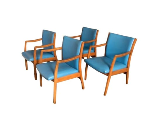 Mid-Century Dinning Chairs, Office Chairs Set of 4 Blue Vinyl