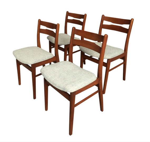 Mid Century Danish Teak Curated Dining Chair Set of 4