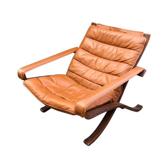Mid-Century Modern Folding Lounge Chair with Original Brown Leather and Wooden Base designed by WestNofa design