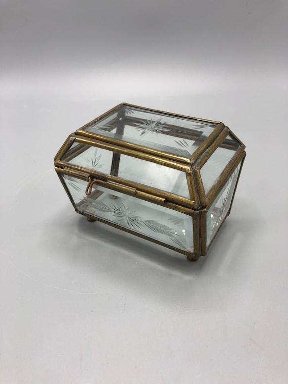 Mid century small glass and brass jewelry box