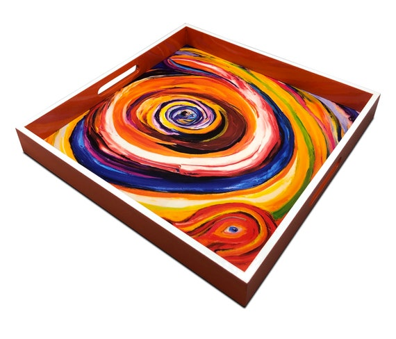 """Handmade contemporary lacquer wood tray with multi color abstract titled Eye on you""""  designed by """"Bruce Mishell"""""""