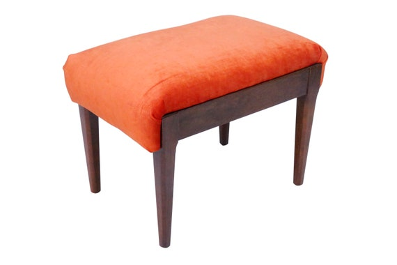 Curated mid-Century low chair/foot stool/make up chair/vanity chair with orange fabric