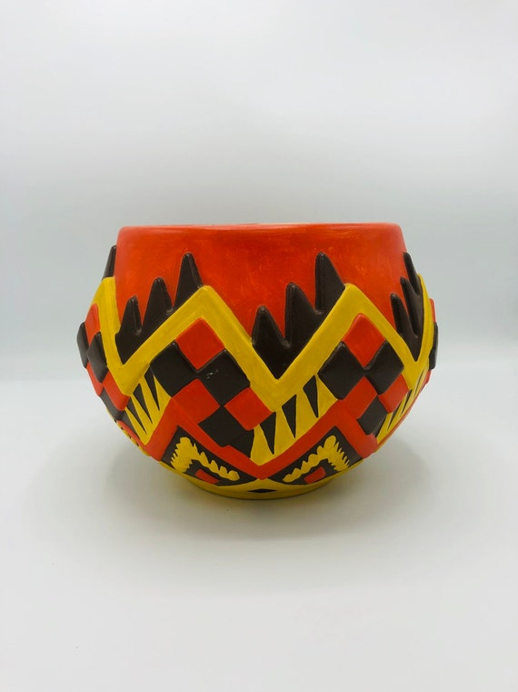 Mid century vintage handmade ceramic vase/bowl in orange/yellow & Brown shades.