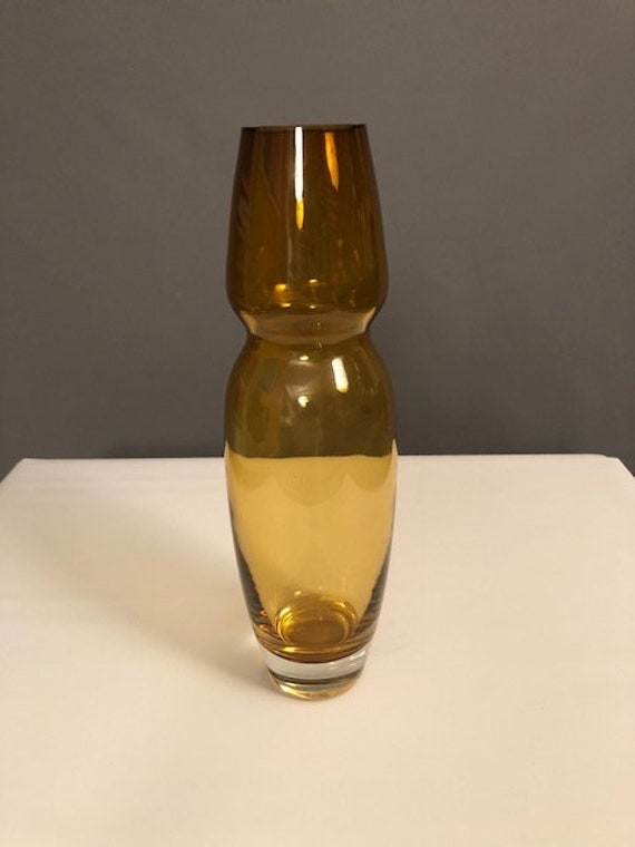 Mid-Century Waterford Hand blown stretched yellow Glass Vase