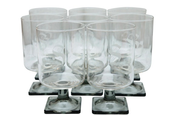 Mid-Century Clear Stamp Wine Glass With engraved letter S Set of 8.
