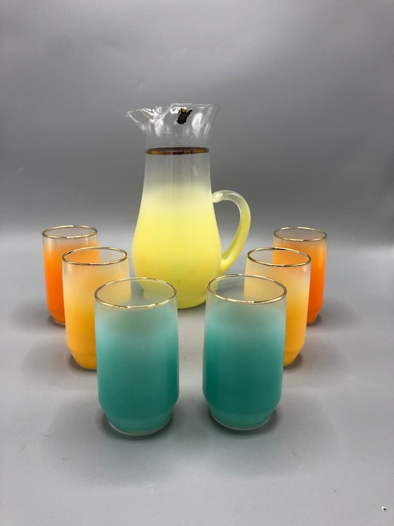 Mid century West Virginia handmade pitcher and glasses