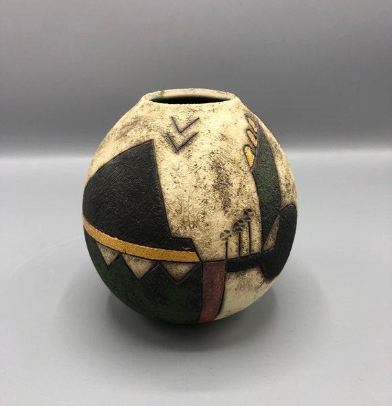 Mid-Century handmade ceramic vase signed