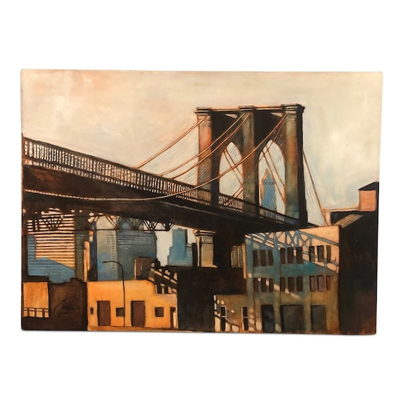 "Contemporary oil on board by ""Kevin Conklin"" titled ""Brooklyn bridge"" signed."