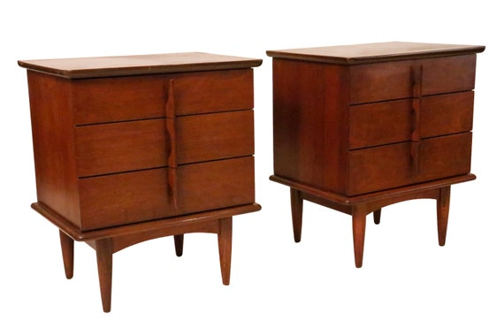 Mid-Century Pair walnut nightstands with 3 drawers 1970's