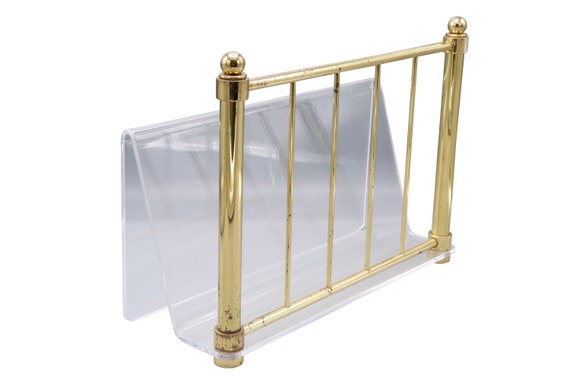Mid century brass and Lucite magazine rack