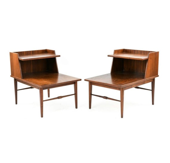 Mid century vintage pair of nightstands and table walnut 1970s