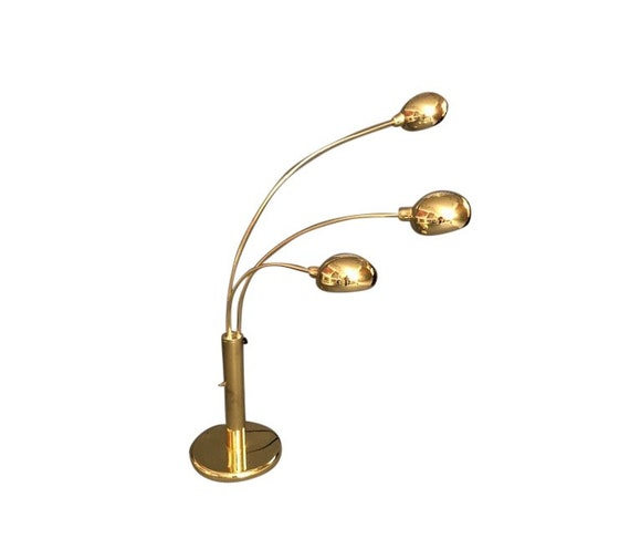 1950s Mid-Century Modern 3 Arm Brass Table Lamp