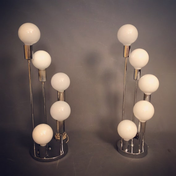 Mid-Century pair of chrome table lamps.