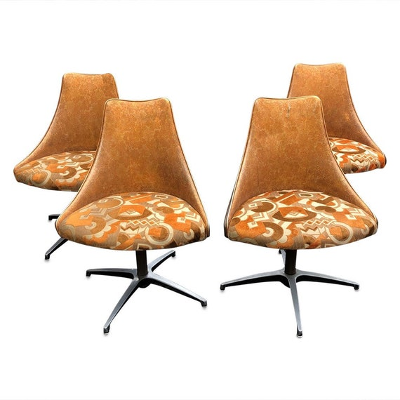 Mid century set up for swivel office/dining chairs with original upholstery