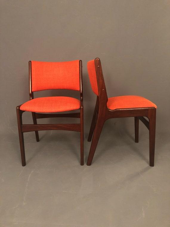 Mid-Century curated Danish pair of dinning chairs orange fabric