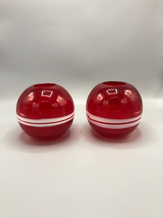 Pair mid century red  globe glass vases with two stripes 1960's Circa