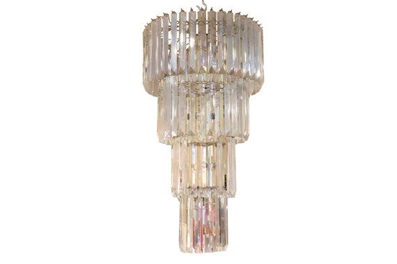 Hollywood Regency large 4 tiers Lucite chandelier 1970's