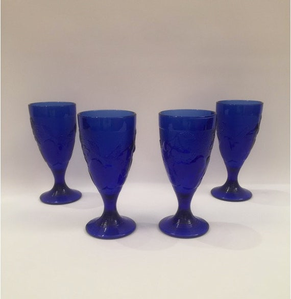 Blue Art Glass Goblets - Set of 4