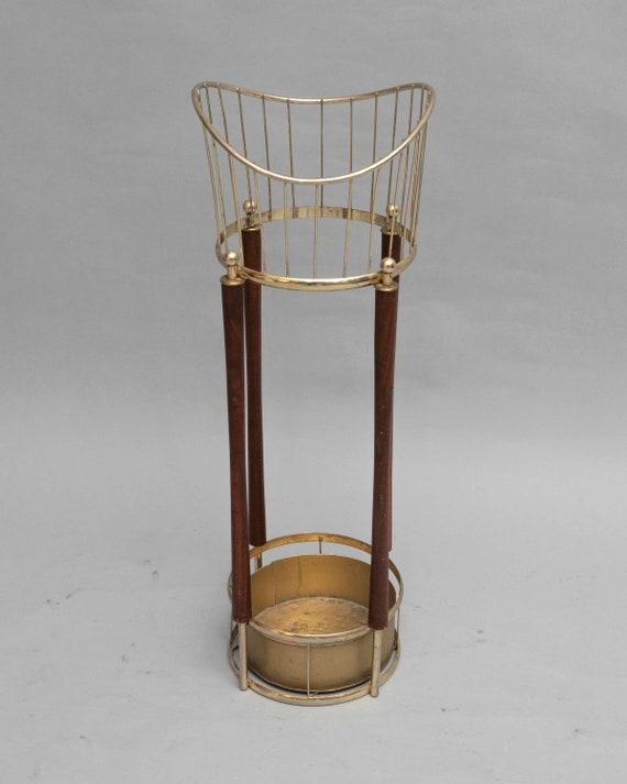 Mid century brass and tick umbrella stand 1960s circa