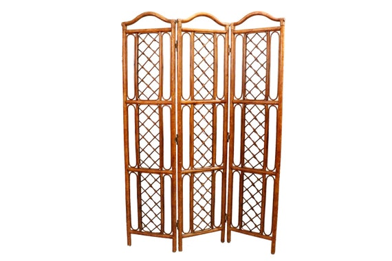 Mid century folding bamboo and Rattan screen divider
