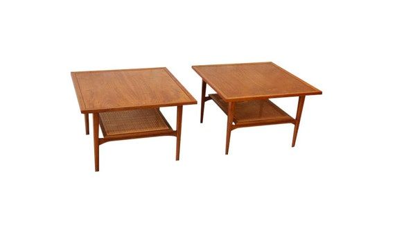Kipp Stewart for Drexel Walnut Side Tables - A Pair