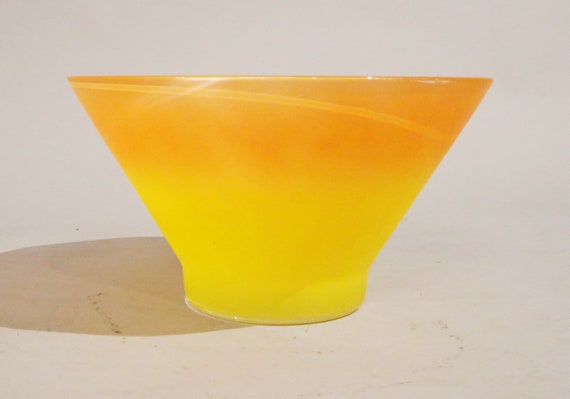 Mid century yellow and orange glass bowl